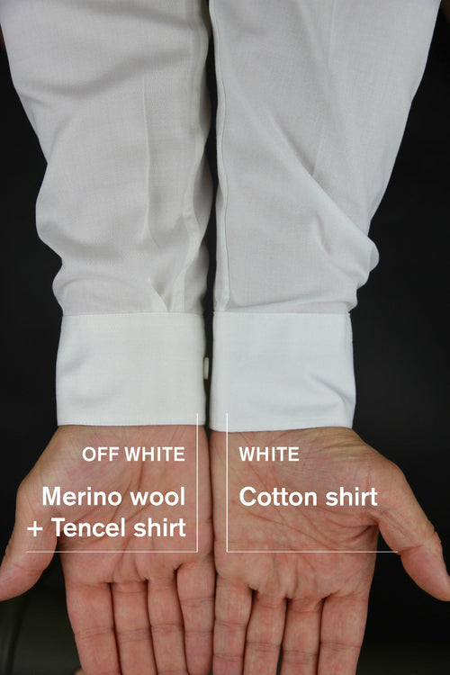 Wolk merino wool shirt in color off white versus white cotton