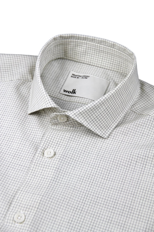 Wolk merino wol shirt grey graph check spread collar