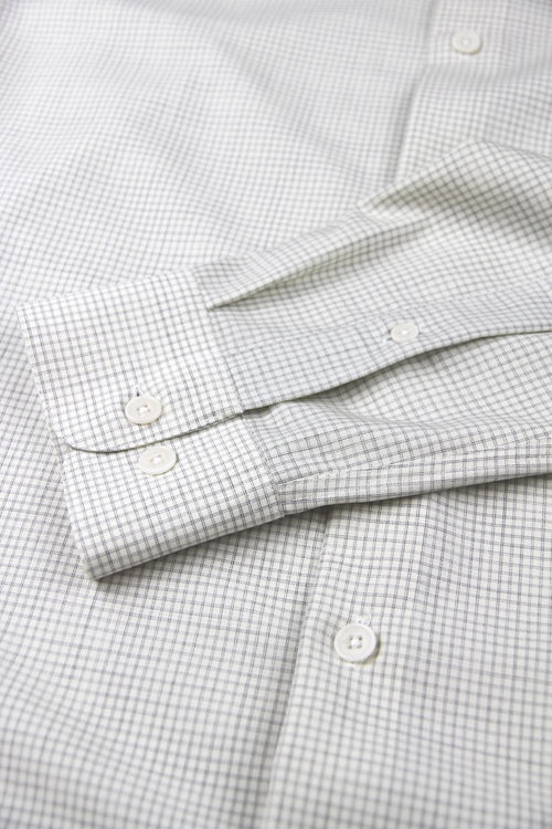 Wolk Tristan merino shirt grey graph check corozo buttons