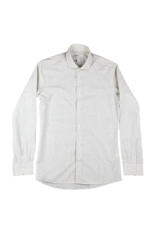 Wolk Tristan merino shirt grey graph check spread collar