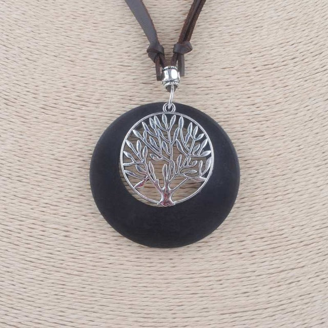 Vintage Maxi Necklace: Wooden Family Tree Pendant