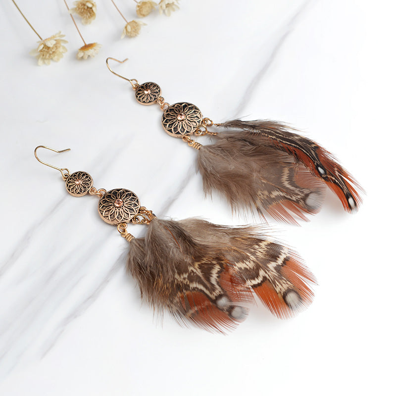 Brown Feather Bohemian Earrings