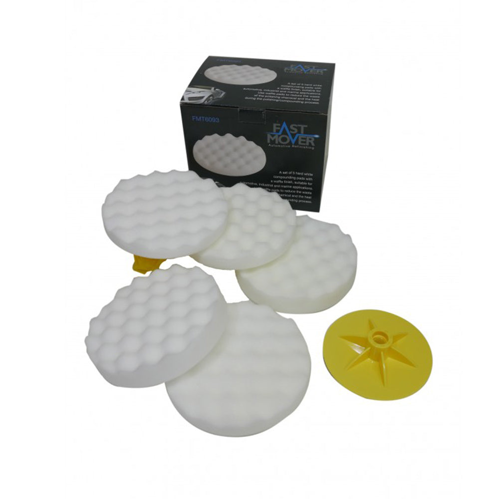 FMT6093 White Waffle Polishing Pads with backing plates, 5pcs