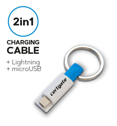 2in1 charging cable for Lightning & microUSB with keyring