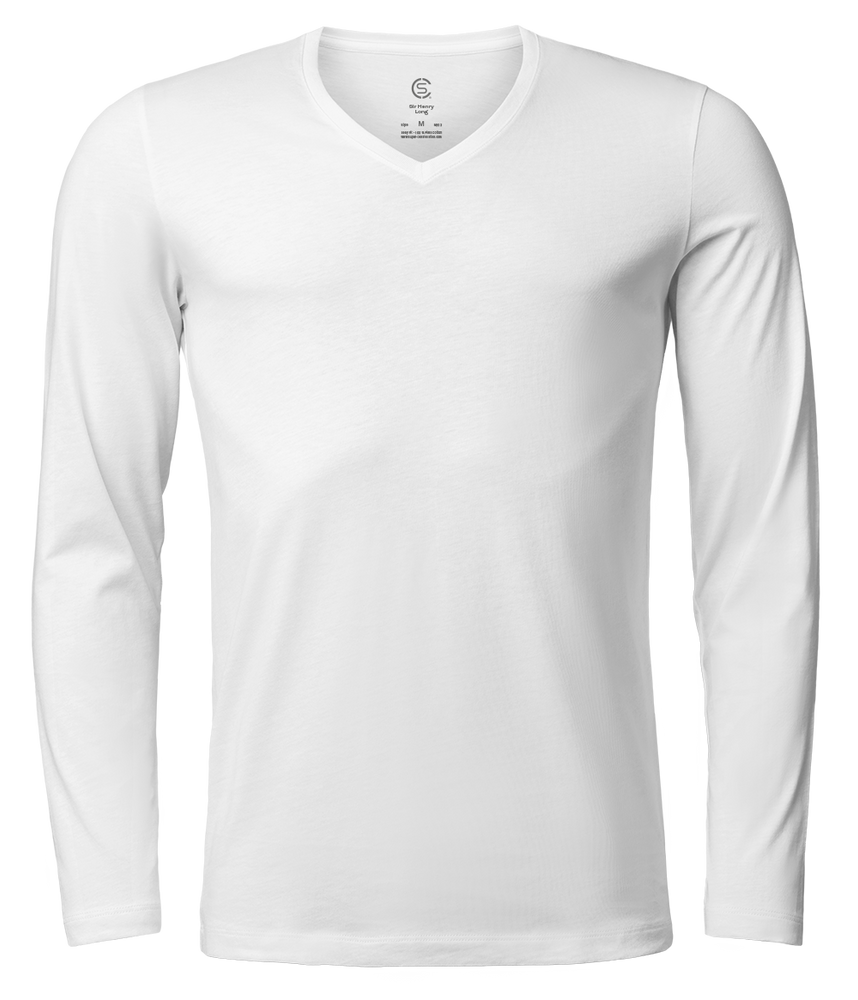 Sir Henry Long – Long Sleeve V-Neck T-Shirt - White - 360