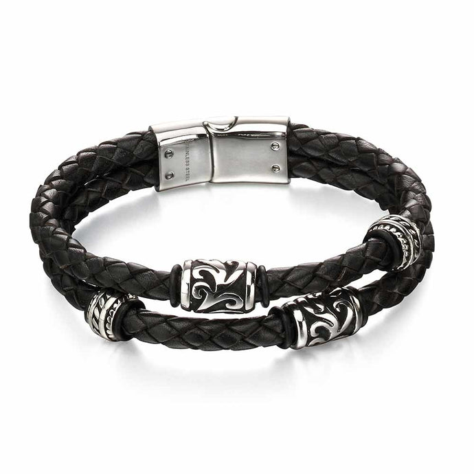 FRED BENNETT Stainless Steel & Black Leather Wristband
