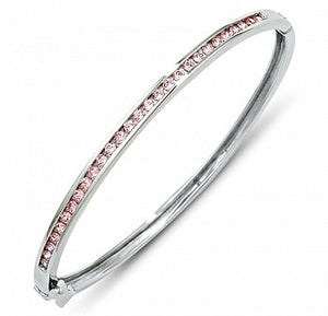 Kids Silver Pink CZ Bangle