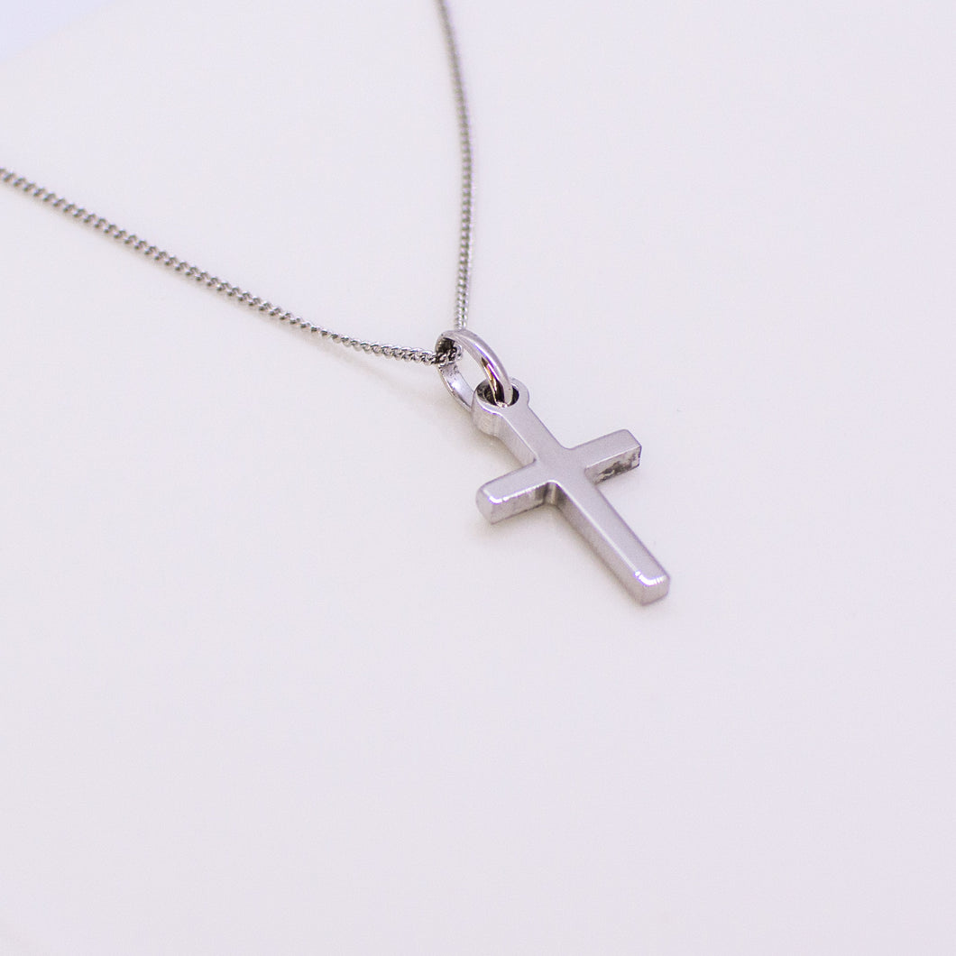Silver Small Plain Block Cross Necklace