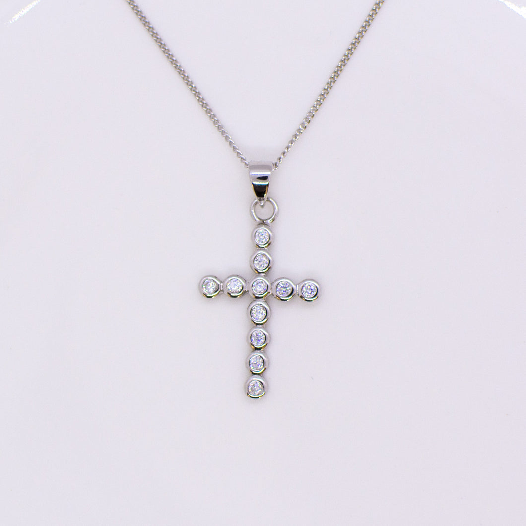 Silver CZ Bezel Set Cross Necklace