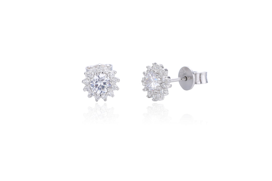 Silver CZ Floral Cluster Stud Earrings