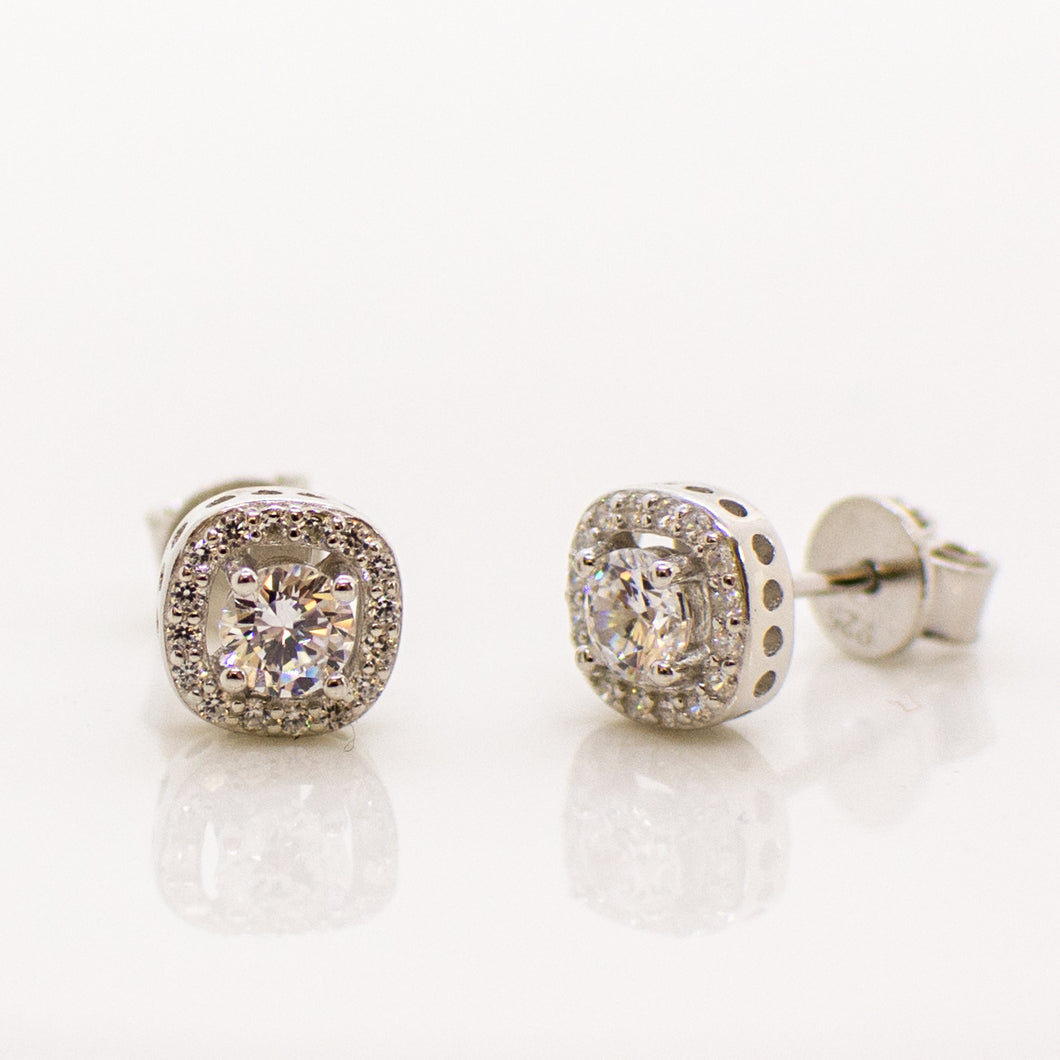Silver Square Halo CZ Stud Earrings