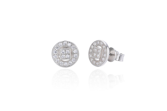 Silver CZ Fancy Halo Stud Earrings