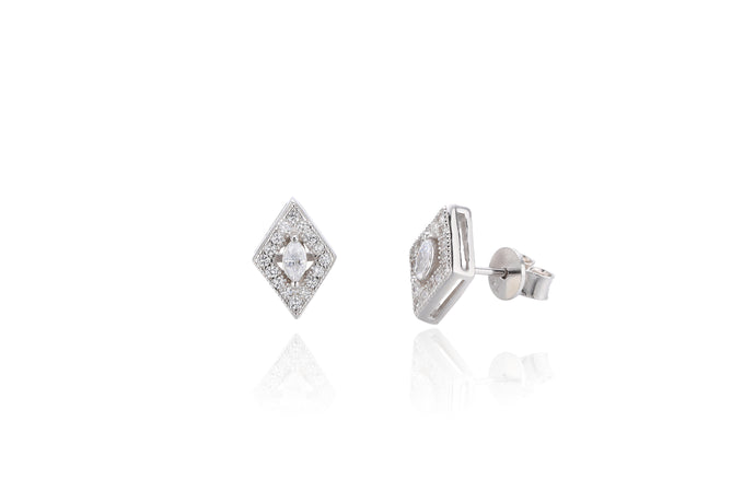 Silver CZ Kite Stud Earrings