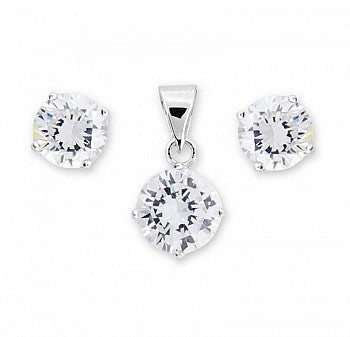 Silver CZ Earring and Necklace Set