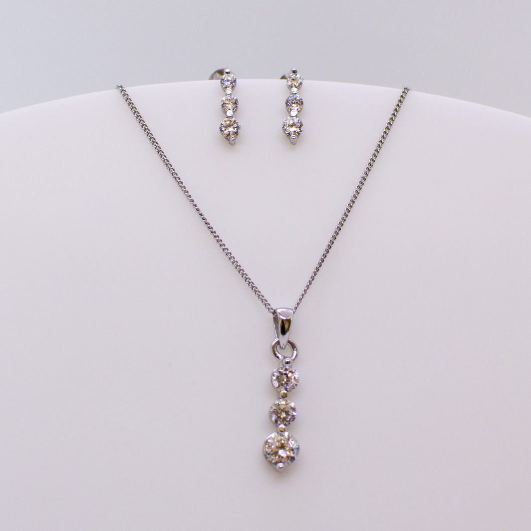 Silver CZ Trilogy Necklace & Earrings Set