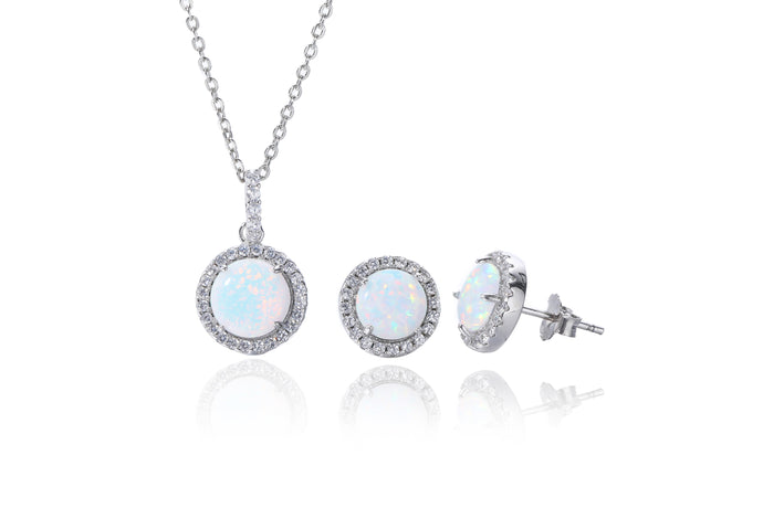 Silver Opalique Earring and Necklace Set