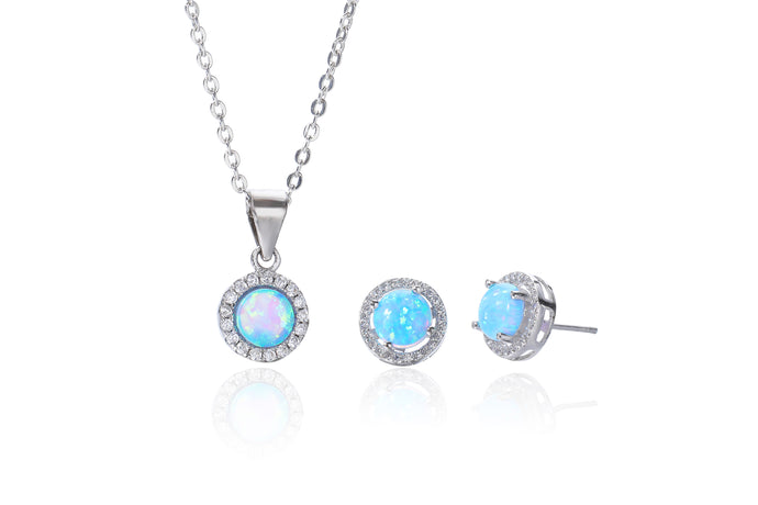 Silver Blue Opalique Earring and Necklace Set