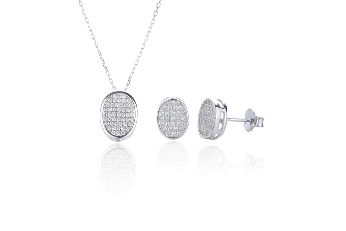 Silver CZ Oval Earring and Necklace Set
