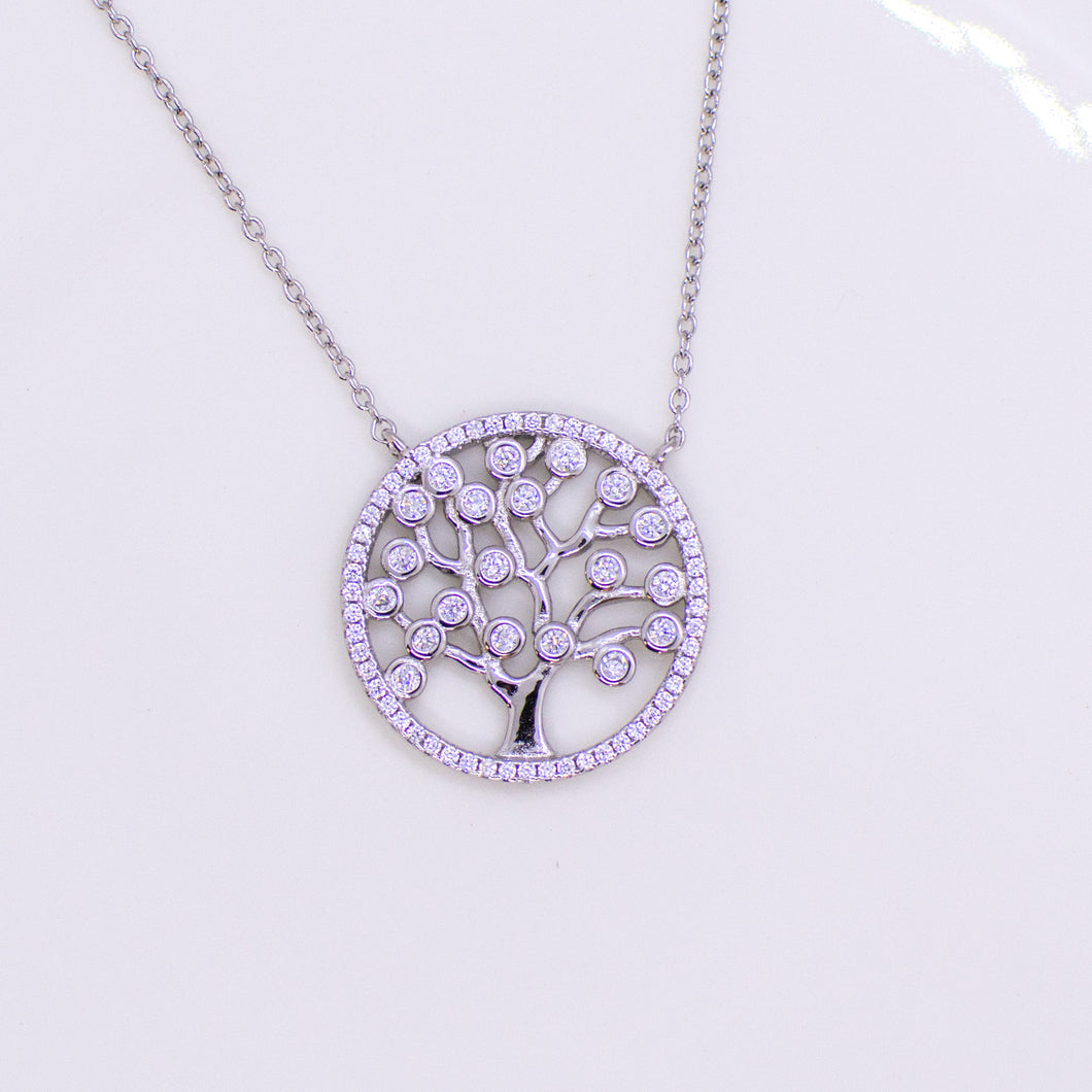 Silver CZ Tree Of Life Medallion Necklace