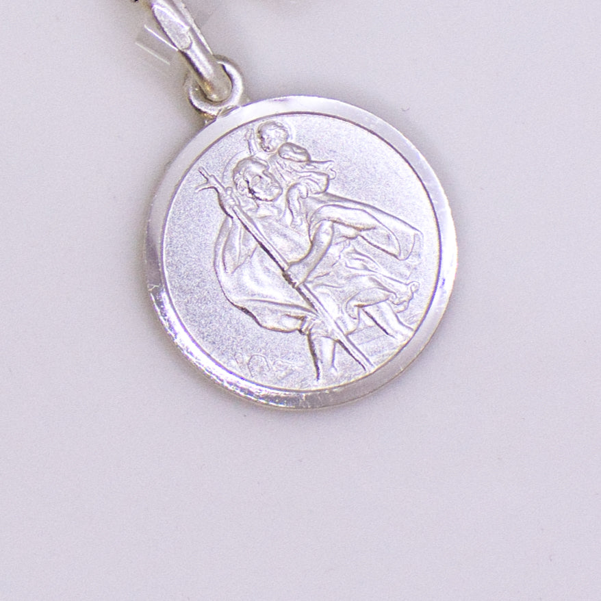 Silver 14mm Round St Christopher Medal & Chain