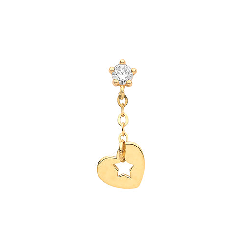 Ear Candy 9ct Gold CZ Stud with Heart Drop Cartilage Stud