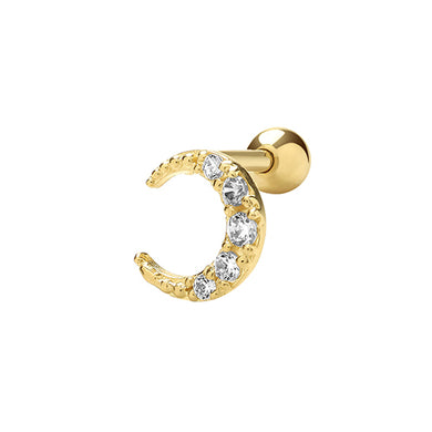 A single 375 9ct yellow CZ crescent stud for cartilage piercings.  Backwards C. Screw fitting.