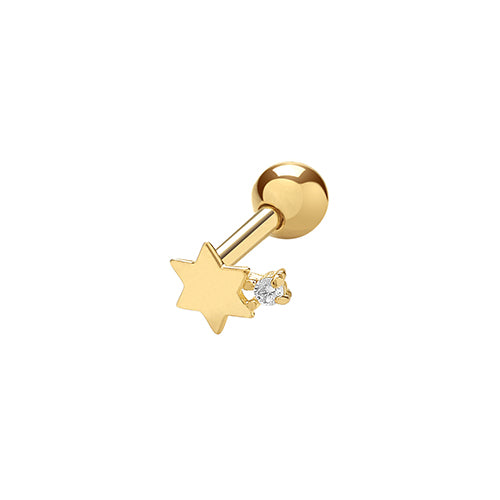 A single 375 9ct yellow gold plain polished star stud with CZ for cartilage piercings.   Screw fitting.