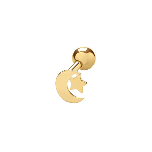 Ear Candy 9ct Gold  Moon & Star Cartilage Stud