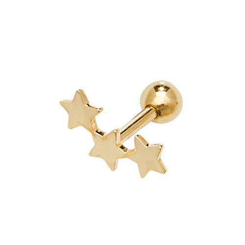 Ear Candy 9ct Gold Three Star Cartilage Stud