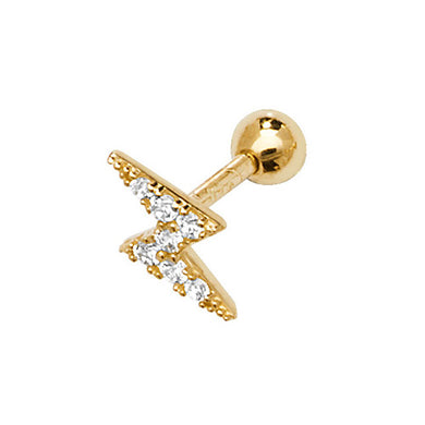 A single 375 9ct yellow gold CZ set lightning bolt stud for cartilage piercings. Screw fitting.