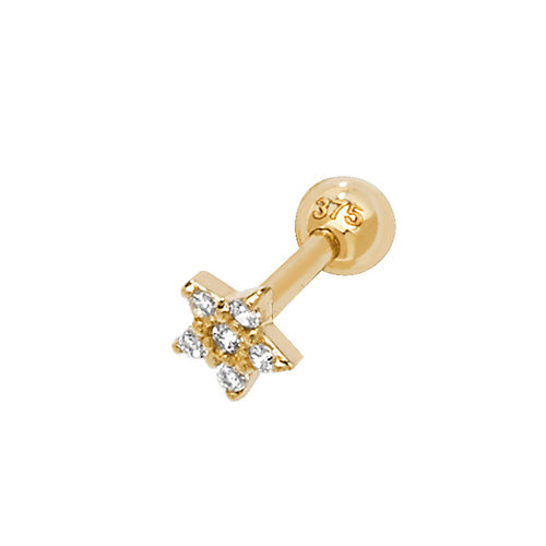 Ear Candy 9ct Gold CZ Star Cartilage Stud