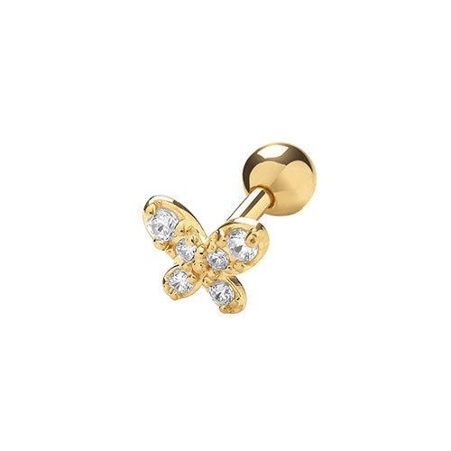 A single 375 9ct yellow gold CZ set butterfly stud for cartilage piercings. Set with six round CZs.  Screw fitting.