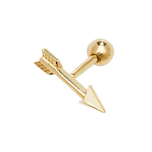A single 375 9ct yellow gold plain polished arrow stud for cartilage piercings.   Screw fitting.