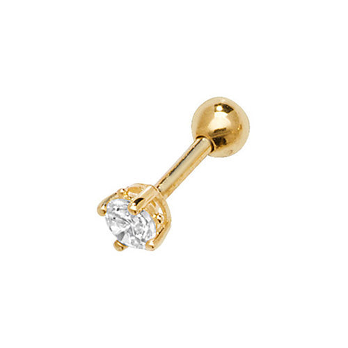 A single 375 9ct yellow gold claw set CZ stud for cartilage piercings.   Screw fitting.