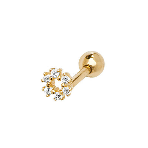 A single 375 9ct yellow gold claw set CZ open circle stud for cartilage piercings.   Screw fitting.