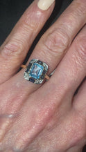 Load and play video in Gallery viewer, 9ct Gold Blue Topaz, Sapphire & Diamond Ring