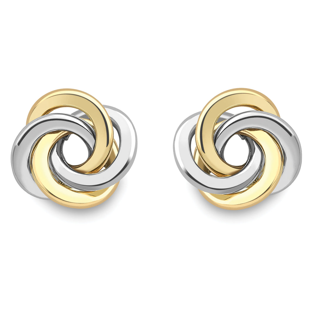 9ct Gold Knot Earrings - Two Tone