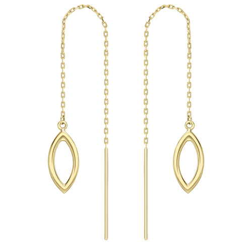 9ct Gold Open Leaf Pull-through Earrings