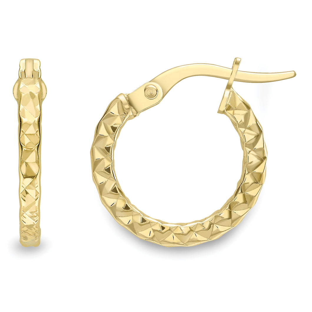 9ct Gold Kisses All Over 14mm Hoop Earrings