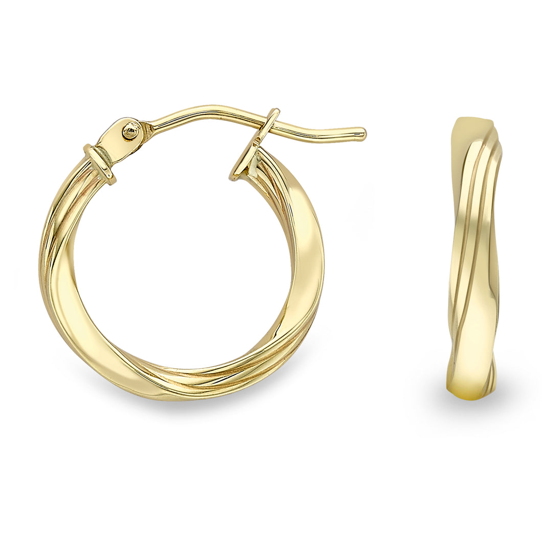 9ct Gold Classic 15mm Twist Hoop Earrings