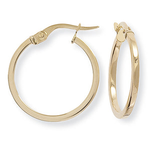 9ct Gold Classic Skinny Hoop Earrings