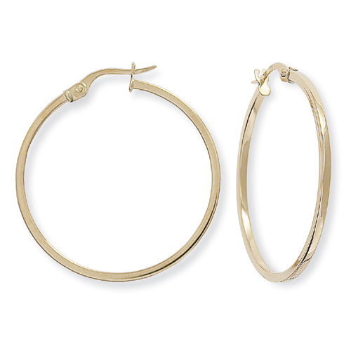 9ct Gold Classic Super Skinny Hoop Earrings