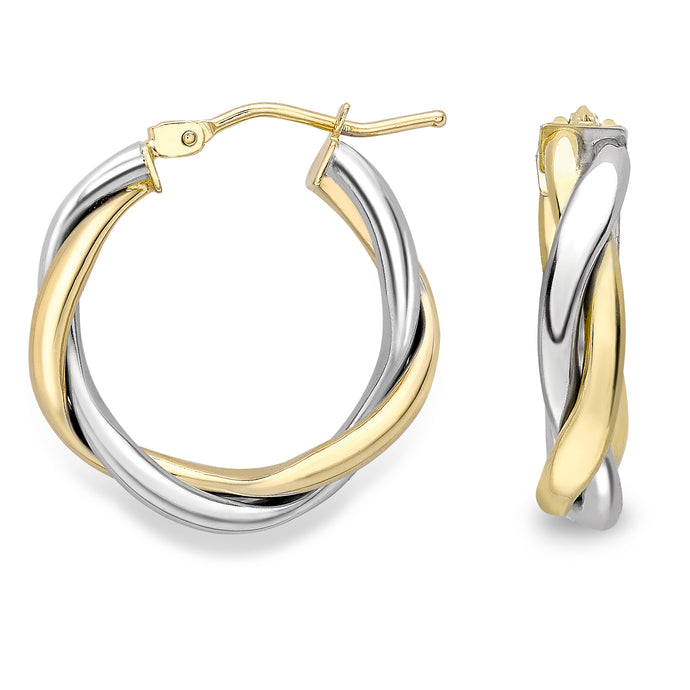 9ct Gold Classic Two Tone Hoop Earrings