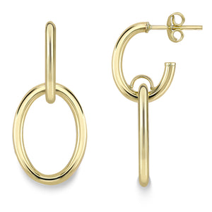 9ct Gold Hoop Earrings with Open Oval Drop