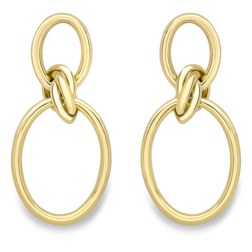 9ct Gold Open Oval Loveknot Drop Earrings