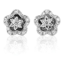 Load image into Gallery viewer, These pretty 9ct white gold stud earrings are set with round brilliant cut diamonds.  The floral design is delicate and very attractive. 9ct white gold