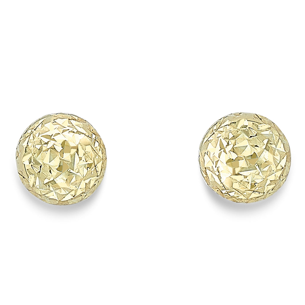 9ct Gold Diamond Cut Ball Stud Earrings