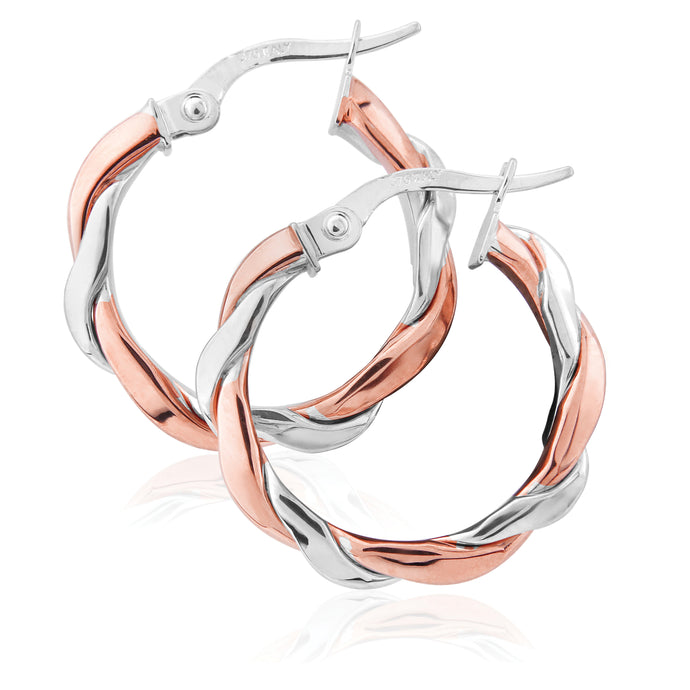 9ct Gold Classic Two Tone Hoop Earrings - Rose & White