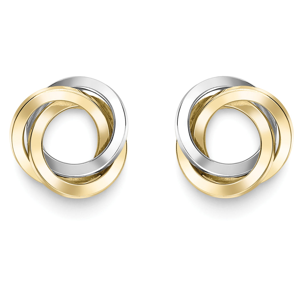 9ct Gold Trinity Knot Earrings - Two Tone