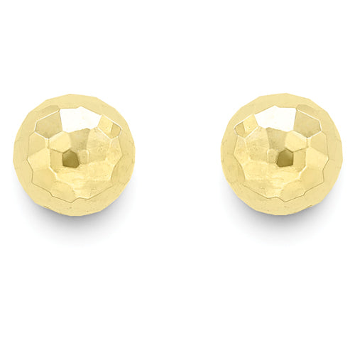 9ct Gold Diamond-cut Ball Earrings
